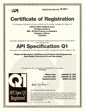 Certificate of authority to use the official API monogram API- Q1